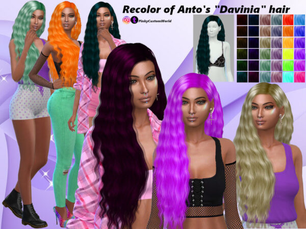 The Sims Resource: Recolor Antos Davinia hair by PinkyCustomWorld for Sims 4