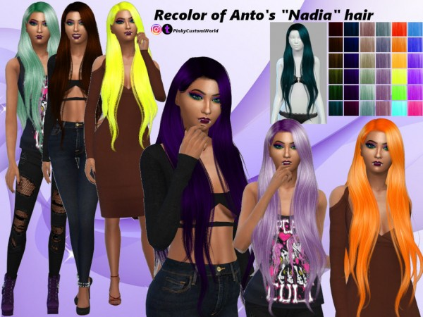 The Sims Resource: Recolor Antos Nadia hair by PinkyCustomWorld for Sims 4