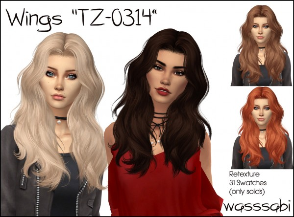 Wasssabi Sims: Wingssims TZ 0314 hair retextured for Sims 4