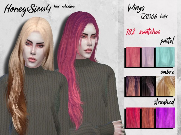 The Sims Resource: Wings TZ0306 hair retextured by HoneysSims for Sims 4