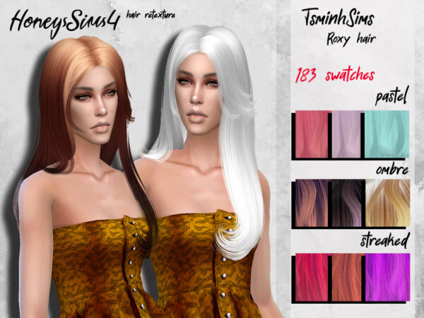 The Sims Resource: Tsminh`s Roxy hair retextured by HoneysSims4 for Sims 4