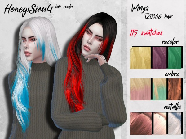 The Sims Resource: Wings TZ0306 hair recolored by HoneysSims for Sims 4