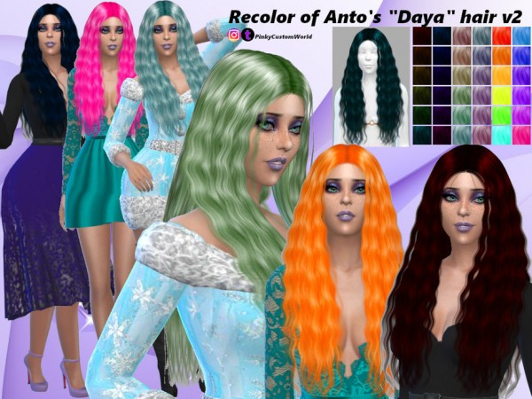 The Sims Resource: Recolor Antos Daya hair by PinkyCustomWorld for Sims 4