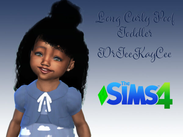 The Sims Resource: Long Curly Poof Hair by drteekaycee for Sims 4
