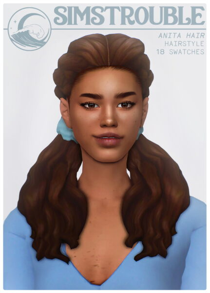 Simstrouble: Anita Hair for Sims 4