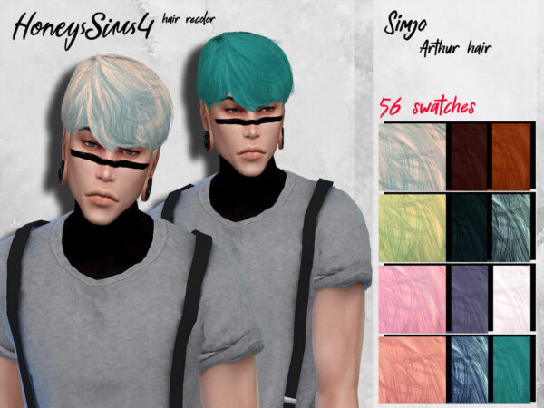 The Sims Resource: Arthur Hair Recolored by HoneysSims4 for Sims 4