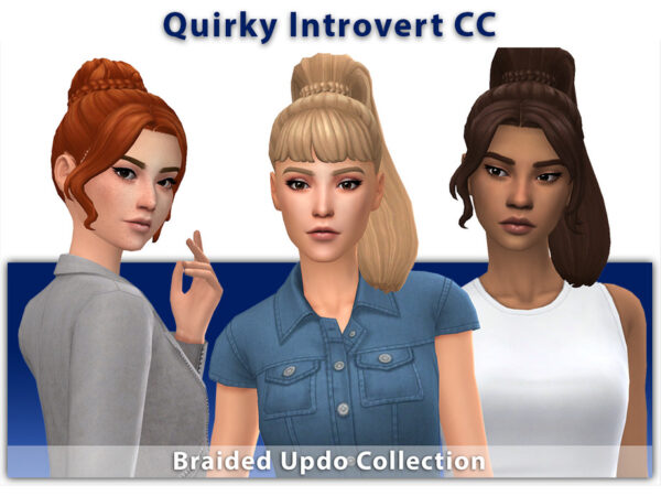 The Sims Resource: Braided Updo Collection Hair by qicc for Sims 4