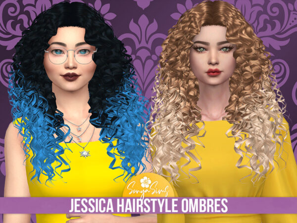 The Sims Resource: Jessica Hair Ombres Retextured by SonyaSimsCC for Sims 4