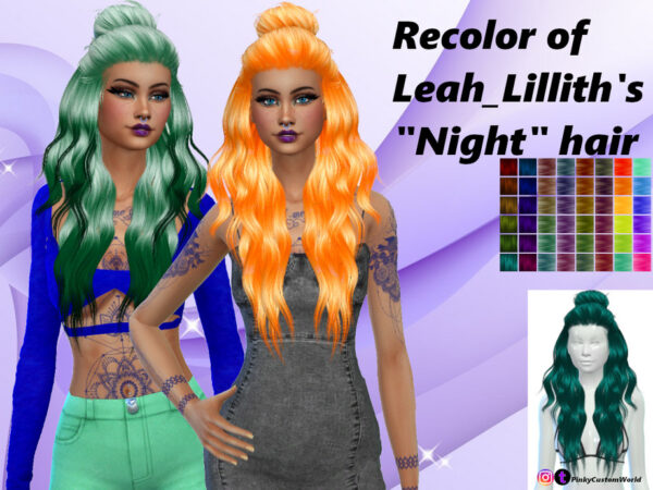 The Sims Resource: LeahLilliths Night hair recolored by PinkyCustomWorld for Sims 4