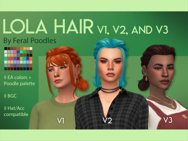 The Sims Resource: Lola Hair V3 no bangs by feralpoodles for Sims 4