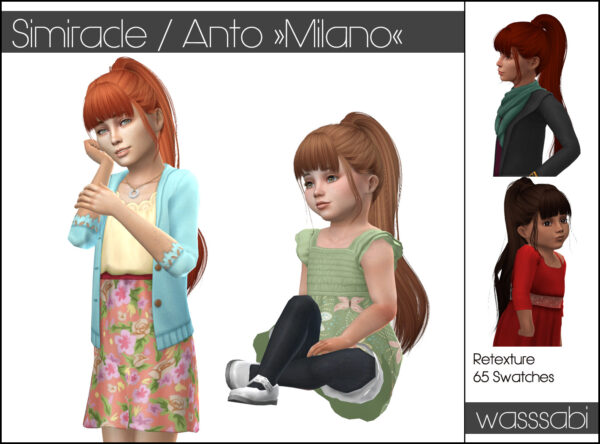 Wasssabi Sims: Anto`s Milano Hair Retextured for Sims 4