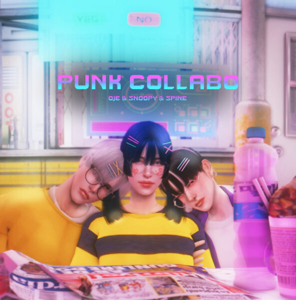 Snoopy: Punk Collabo hair for Sims 4