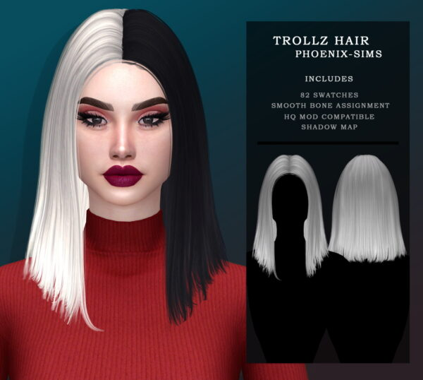 Phoenix Sims: Riley Hair and Trollz Hair for Sims 4