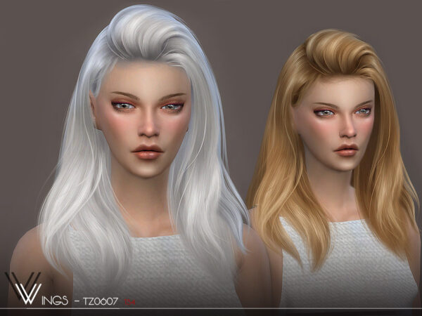 The Sims Resource: WINGS TZ0607 hair for Sims 4