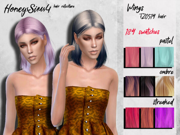 The Sims Resource: Wings TZ0514 hair retextured by HoneysSims4 for Sims 4