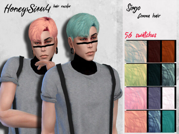 The Sims Resource: Simjo`s Comma hair recolor by HoneysSims4 for Sims 4