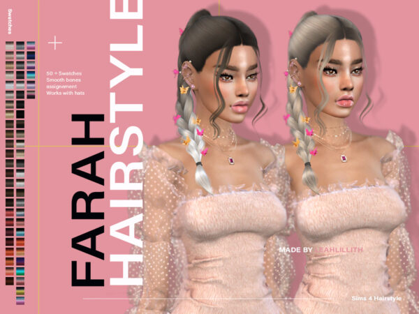 The Sims Resource: Farah Hairstyle by Leah Lillith for Sims 4