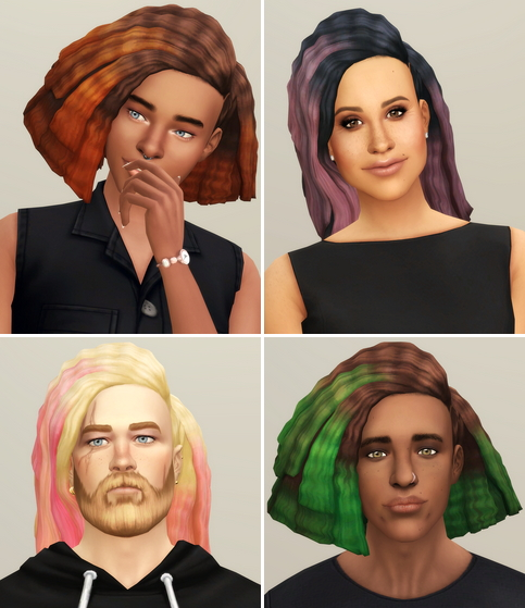 Rusty Nail: Crimped Hair Edit Ombre for Sims 4