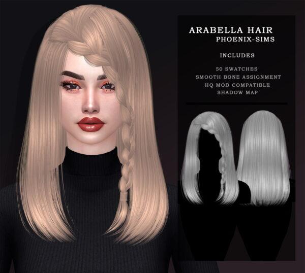 Phoenix Sims: Nightcrawler 26 and Arabella Hair for Sims 4