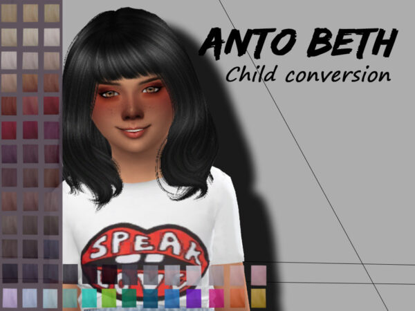 The Sims Resource: Anto`s Beth Hair Retextured by Alfyy for Sims 4