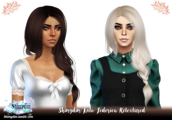 Shimydim: Anto`s Federica Hair Retextured for Sims 4