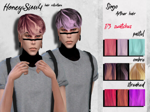 The Sims Resource: Arthur Hair Retextured by HoneysSims4 for Sims 4