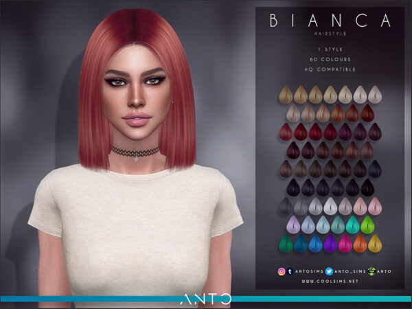The Sims Resource: Bianca Hair by Anto for Sims 4