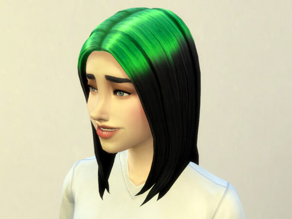 The Sims Resource: Billie Eilish hair recolored by Kresix for Sims 4