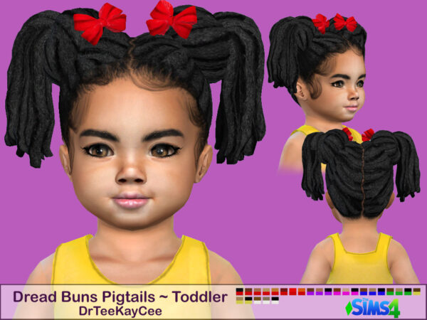 The Sims Resource: Dread Buns Pigtails Hair by drteekaycee for Sims 4