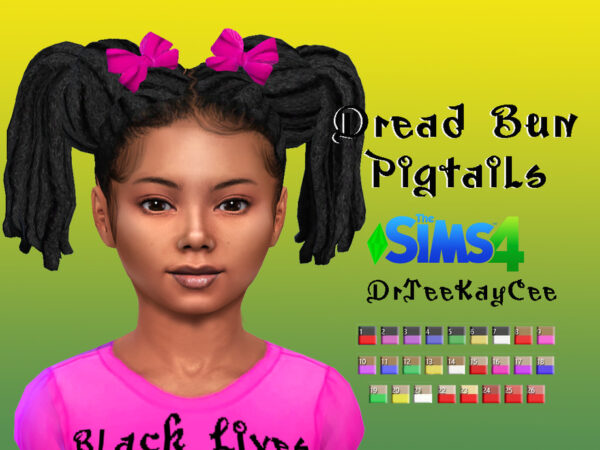 The Sims Resource: Dreads with Buns Pigtails by drteekaycee for Sims 4