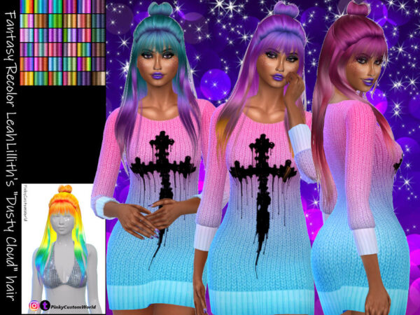 The Sims Resource: LeahLilliths Dusty Cloud Fantasy hair recolored by PinkyCustomWorld for Sims 4