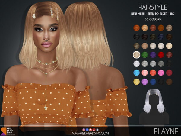 Coupure Electrique: Elayne Hair for Sims 4