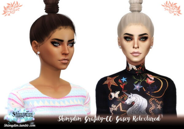 Shimydim: Grafity CC Gasey and Fyona Hair Retextured for Sims 4