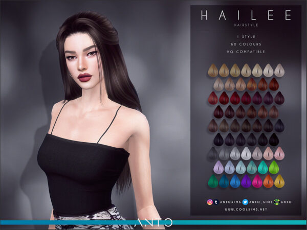 The Sims Resource: Hailee Hair by Anto for Sims 4
