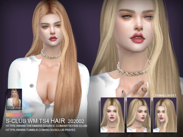 The Sims Resource: Hair 202002 by S Club for Sims 4