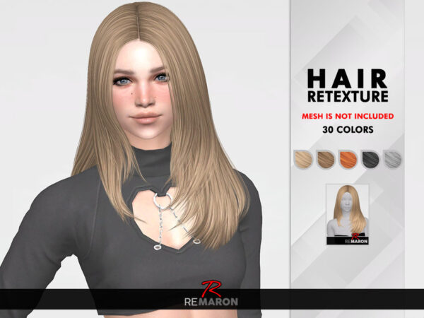 The Sims Resource: Jennie Hair Retextured by remaron for Sims 4