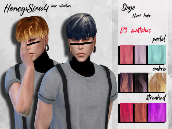 The Sims Resource: KIMSimjo`s Nuri hair retexured by HoneysSims4 for Sims 4