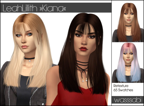 Wasssabi Sims: LeahLillith`s Kiana Hair Retextured for Sims 4