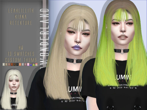 The Sims Resource: LeahLillith`s Kiana Hair Retextured by PlayersWonderland for Sims 4