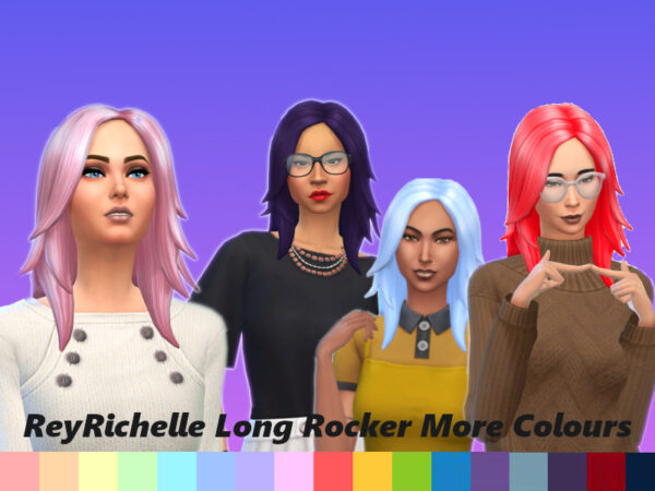 The Sims Resource: Long Rocker Hair Recolored by Reyrichelle for Sims 4