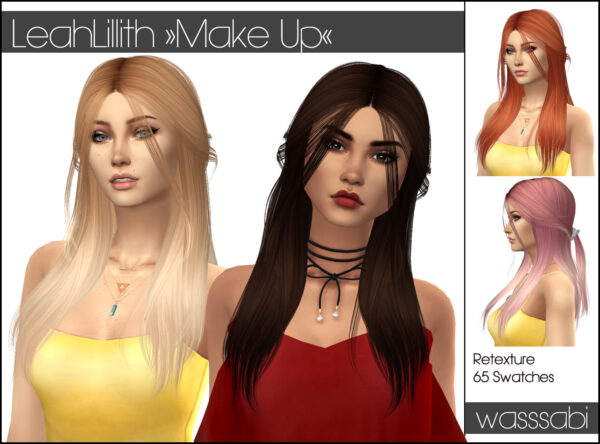 Wasssabi Sims: LeahLillith`s Makeup Hair Retextured for Sims 4