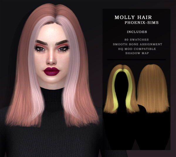 Phoenix Sims: Alessia and Molly Hair for Sims 4
