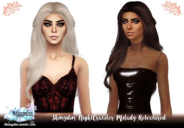 Shimydim: NightCrawler`s Milady Hair Retextured for Sims 4