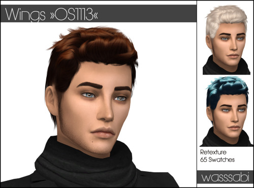 Wasssabi Sims: Wings OS 1113 hair retextured for Sims 4