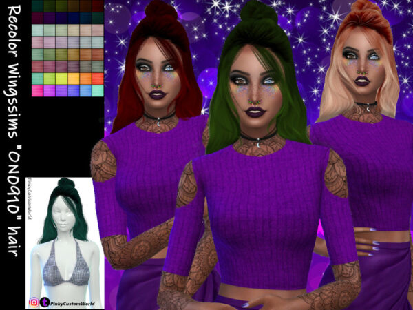 The Sims Resource: Recolor of Wingssims ON0910 hair by PinkyCustomWorld for Sims 4