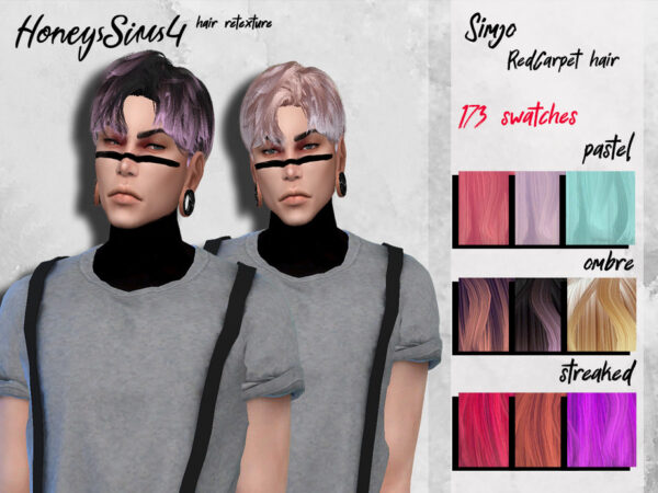 The Sims Resource: KIMSimjo`s RedCarpet Hair retextured by HoneysSims4 for Sims 4