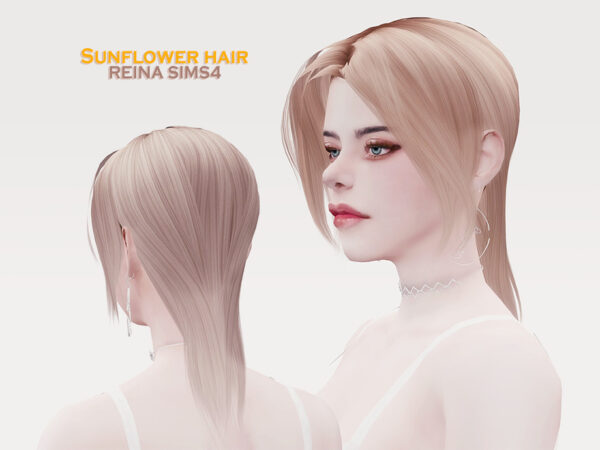The Sims Resource: Sunflower hair by Reina Dambi for Sims 4