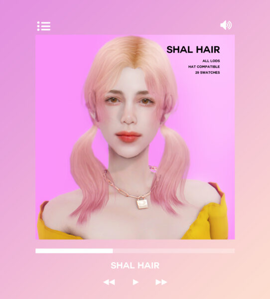 Oje Sims: Shal hair for Sims 4
