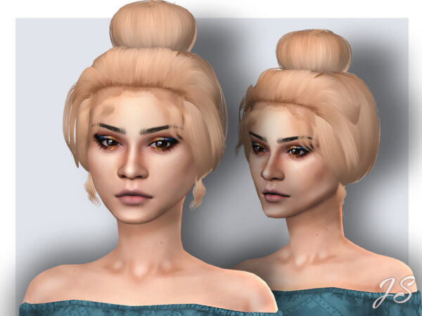 The Sims Resource: Stress Bun Hair by JavaSims for Sims 4