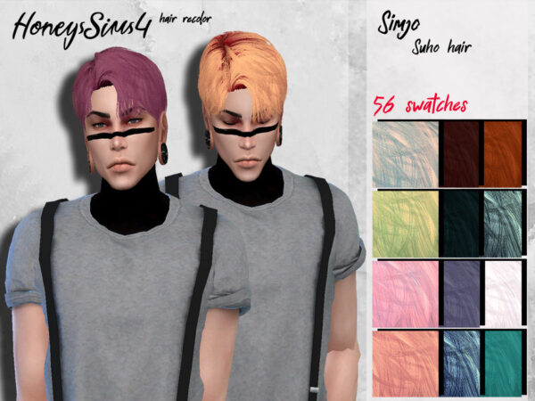 The Sims Resource: Suho Hair recolored by HoneysSims4 for Sims 4